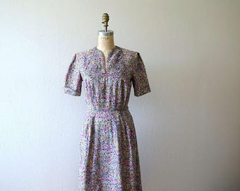 Vintage novelty print dress . 1940s dress