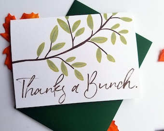 Thanks a Bunch Thank You Card with Matching Green Envelope
