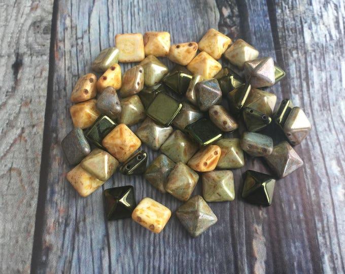 Bead Mix two tone green blue yellow stone wash mix 12mm stone Pyramid Cuff designed by Julianna C Avelar Jewel Loom