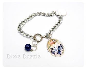 Cameo charm bracelet, bird art charm, adjustable bracelet, sparrow art, charm bracelet, silver charm bracelet, vintage art, art cameo,