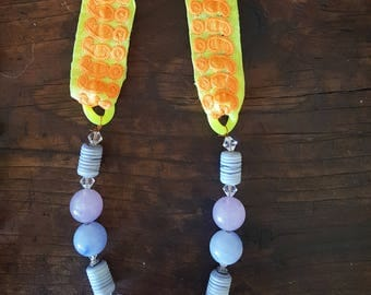Neon Yellow and Orange Indian Ribbon and Purple Beaded Necklace