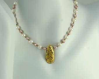 """Gold and Pink Pearl Necklace, Pink and White, Gilded Gold Pendant Stone, Freshwater Pearls and Gold Swarovski Pearls, Gilded Jewelry, 17"""""""