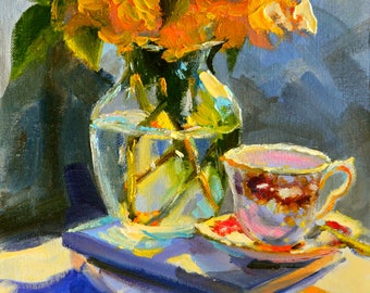 MIDDAGTEE,  original paiting, still life of roses, mason jar, art print
