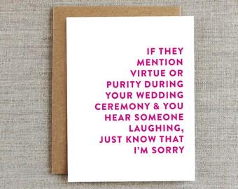 Funny Wedding Card, Funny Wedding Gift, Wedding Shower Card, Friendship Wedding Card, Wedding Card for friends