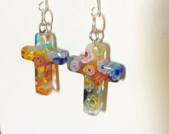 vintage glass flower cross earrings