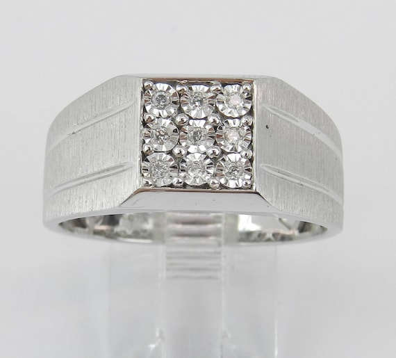 Mens Cluster Diamond Engagement Ring Pinky Anniversary Band White Gold Size 10