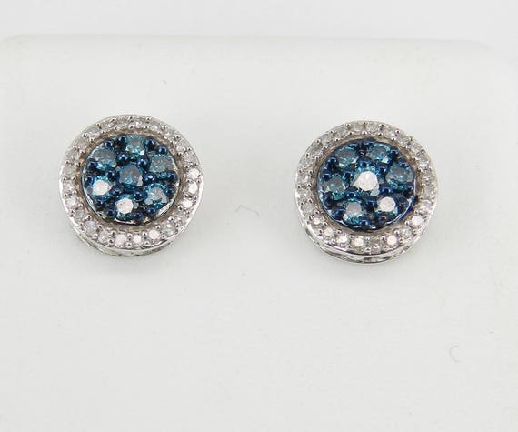 White and Blue Diamond Cluster Halo Stud Earrings Gold Studs Wedding Gift