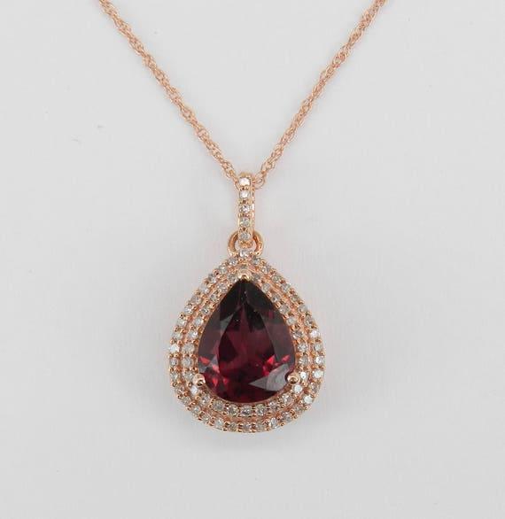 "Rhodolite Garnet and Diamond Halo Pendant Necklace Rose Gold 18"" Chain January Birthday"