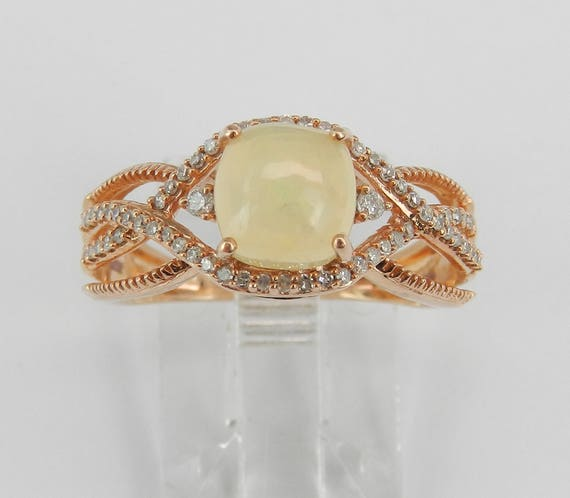 Diamond and Cushion Cut Opal Crossover Engagement Ring Rose Gold Size 7 October Gemstone