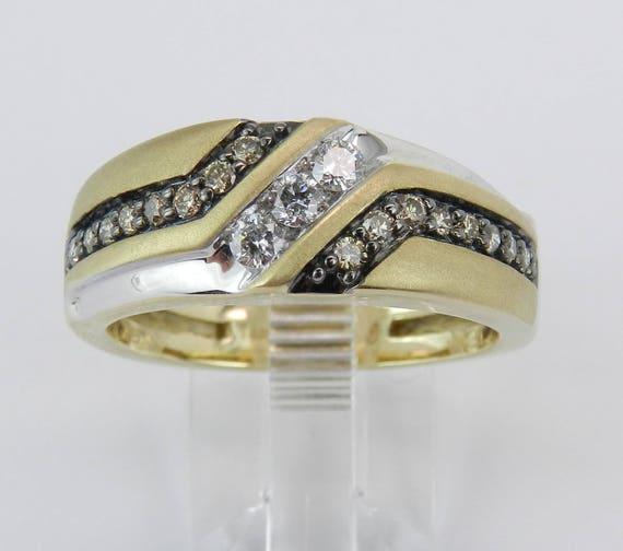 Mens Yellow Gold Cognac and White Diamond Wedding Ring Anniversary Band Size 10