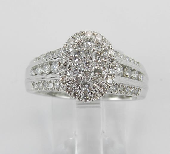 14K White Gold Diamond Engagement Ring Oval Cluster Cocktail Right Hand Size 7