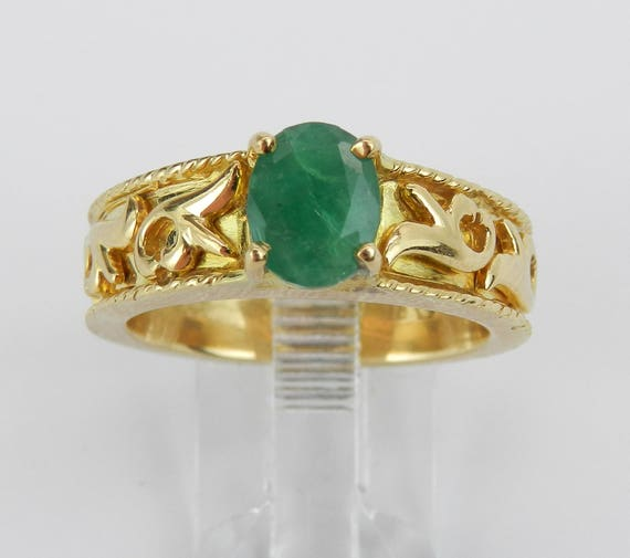 18K Yellow Gold Vintage Estate Emerald Solitaire Engagement Ring Size 8.5