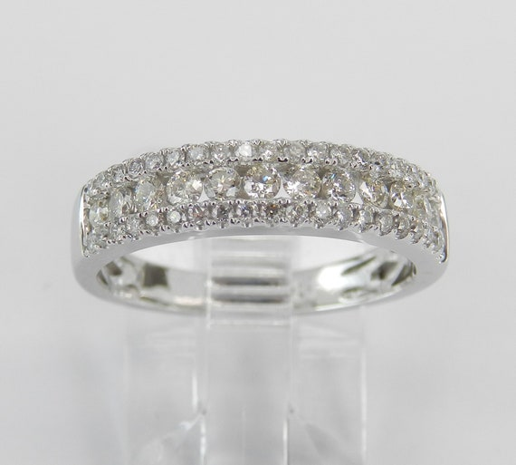 14K White Gold 3/4 ct Diamond Wedding Ring Anniversary Band Stackable Size 6.25