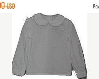 SALE 50% OFF Girls Peter Pan Collar Long Sleeved Blouse Shirt- Sizes 3 months-6X Ready to Ship