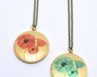 Long Necklace Boho Locket Flowers SHIPS TOMORROW Gift Pendant Necklace Golden Jewelry Gift Antique Locket Necklace Limonbijoux Black Friday