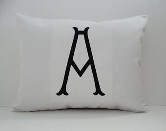 MONOGRAM PILLOW COVER Sunbrella indoor outdoor embroidered letter initial alphabet nursery baby shower gift cottage chic Oba Canvas Co.