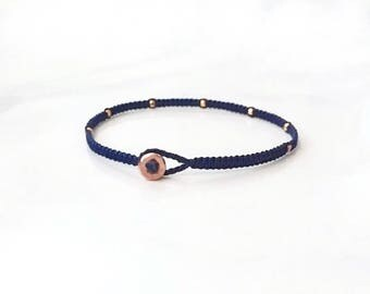 rose gold faceted nuggets modern stacking micro macrame friendship bracelet. reeses.