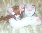 Hime / Princess / Kitten / Pet / Play / Collar / Tail / Collar / Ears / Lace / Necklace / Set / White / DDLG / BDSM / Choker / Ribbon