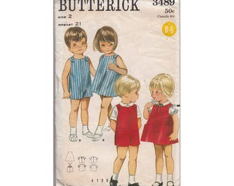 Childrens Dress, Jumper or Romper Uncut Vintage 1960s Quick n Easy Brother and Sister Sewing Pattern Outfits Butterick 3489 Size 2 Breast 21