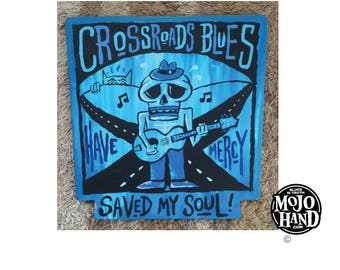 Crossroads Blues saved my soul -  blues folk art painting on wood by Grego of mojohand.com - outsider art