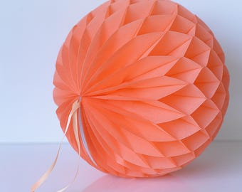 Coral paper honeycomb ball - various sizes - wedding party decorations- hanging decoration-baby bridal shower