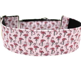 "Flamingo Dog Collar 2"" wide Martingale Dog Collar for Large Breed Dogs Flamingos Dog Collar"