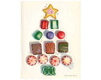 Vintage 80's HALLMARK Stickers Sheet ~ Candy CHRISTMAS TREE Peppermint Cookies Sweets