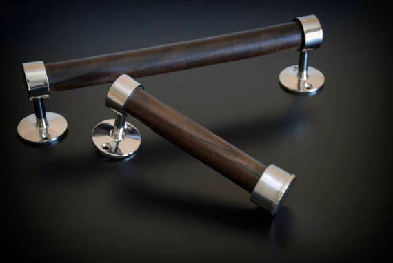 Polished Stainless Steel and Dark Walnut Toilet Paper Holder