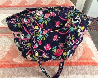 Vera Bradley Purse, Used, Great Condition, Navy, Pink, Yellow, Green, White, 2 Pockets Outside, 4 Pockets Inside, Designs on Ends