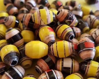 Yellow handmade paper beads