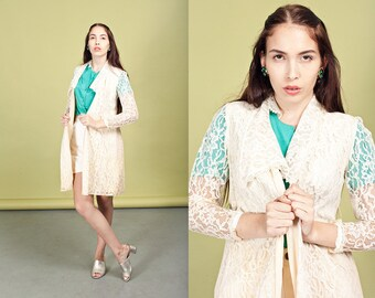60s Cream Lace Duster Vintage Beige Collar Jacket