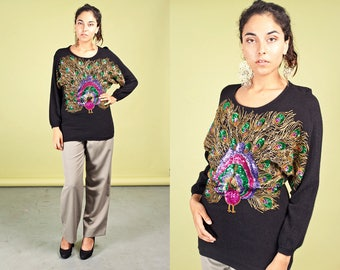 80s Peacock Black Sweater Vintage Colorful Beaded Sweater
