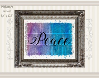 Peace Inspirational Quote on Vintage Upcycled Dictionary Art Print Book Art Print Recycled meditation art gift mindfulness motivational art