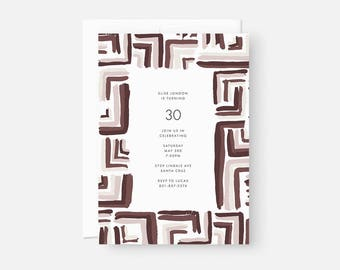 Adult Birthday Invitation / Simple Modern Party Invite / Simple Modern Party Invite / Muted Purple, Maroon, Burgundy / Bridal Shower
