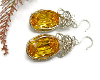 Swarovski Fancy Stone Earrings Wrapped in Sterling Silver