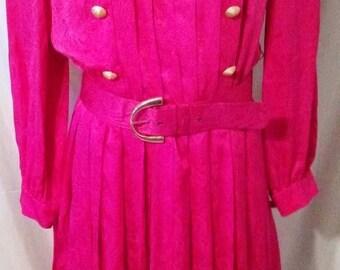 "BIG SUMMER SALE 80s Vintage Silk Executive Power Business Pleated Day Dress-Helga-Size 6-Medium-38"" Bust-Classic Designer Upscale"
