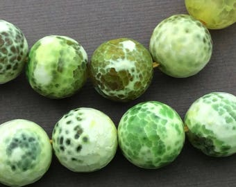 Natural Agate 16mm Faceted Round Beads, Full Strand, 24 Beads G52219 Orig.US 16