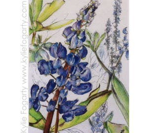 Matted Fine Art Print - Lupins - Fine Art Print from Original Painting by Kylie Fogarty