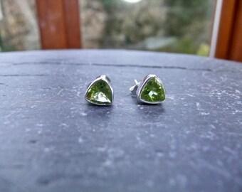 Peridot Trillion Faceted Gemstone Silver Stud Earrings