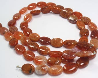 """Fire Agate Oval Beads, 10x14mm Natural Gemstone Fire Agate Beads, 14 1/2"""" Strand - 27 Beads"""