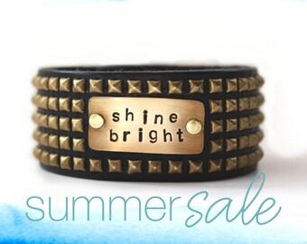 unisex bracelet, leather cuff, leather bracelet, shine bright, quote bracelet, inspiration jewelry, inspiration bracelet, cuff bracelet
