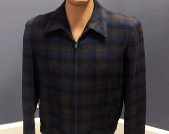 Vintage 1950s Men's Blue and Brown Wool Pendleton Ricky Jacket MINT condition