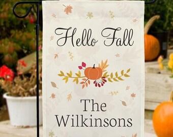 Personalized Hello Fall Garden Flag,  Autumn Welcome Flag Custom Yard Decor