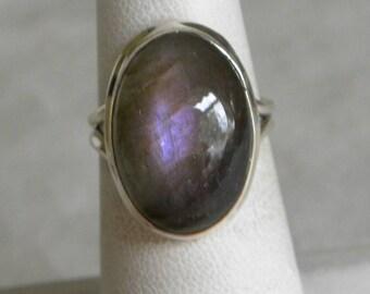 Labradorite Ring Handmade Ring 20x14mm Purple Labradorite Gemstone Ring Sterling Silver Ring Size 7 Blue Labradorite Jewelry Free Shipping