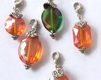 5 Multi colored  crystal Luster Bead Charms