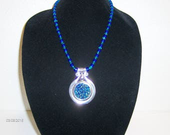 Blue and Green Sparkly Pendant on Necklace
