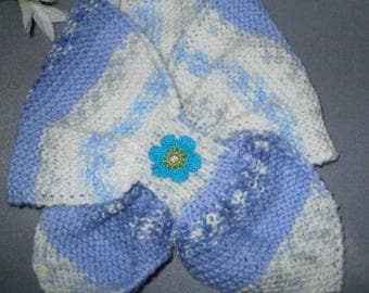SCARF KNIT LEAF HANDMADE SIZE 2 TO 12 BLUE
