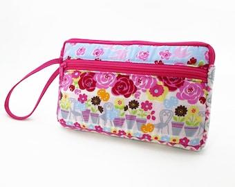 Flower garden zipper pouch, Wristlet wallet, Cosmetic bag, Cell phone bag, iPhone wallet case, Cotton zipper clutch, Pink clutch