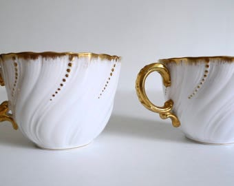 Beautiful Pair of White and Gold Coffee Tea Cups