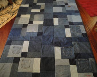 Blue Jean Quilt with royal blue fleece
